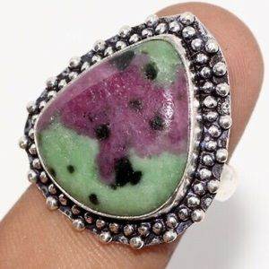 New Ruby Zoisite Ring, Size 8, 925